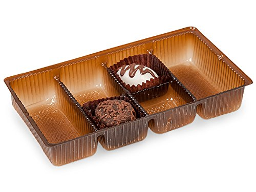 Pack Of 200, 6.25 X 3.5 X 1'' Medium Rectangle Solid Chocolate Brown Candy Trays W/6 Sections by Generic