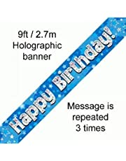 9ft Blue & Silver Stars Holographic Happy Birthday Banner (2.7m length)