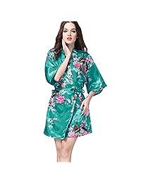 Womens Short Foloral Kimono Sexy Silky Satin Bath Robe