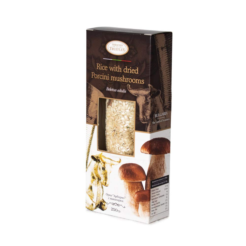 Italian Arborio Risotto Rice with Dried Porcini Mushrooms Boletus Edulis and Spices, Risotto with Mushrooms, Rich in Antioxidants, Fibres (1 x 250g)