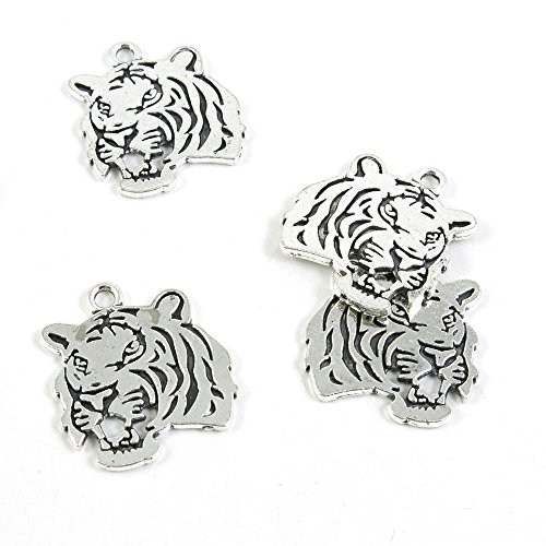 - 40 Pieces Antique Silver Tone Jewelry Making Charms Findings Fashion Wholesale Supplies Pendant Lots Bulk Supply SC2740 Tiger Head