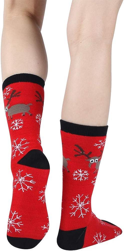 Gmall Unisex Christmas New Year Gifts Novelty Cartoon Holiday Party Colorful Dress Crew Socks Funny Socks