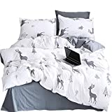Ludan 3 Pcs White Dark Grey Girls/Boys Bedding Sets for Unisex 100% Cotton 800TC 1 Duvet Cover +2 Pillow Cases Included Forest Deer Twin Full Queen King Size,Without Comforter (Deer, Full)