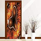 L-QN Creative Door Stickers Bedroom Doors Electromagnetic Waves Textured Dynamic Effects Artful Graphic Vermilion Copper Indoor and Outdoor use W38.5 x H77 inch