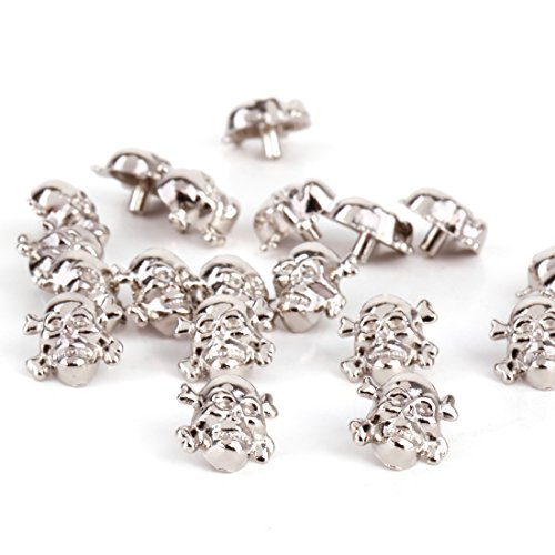 RUBYCA 500 Sets Silver Color Skull Cross-Bone Rapid Rivets Spike and Studs Metal Spots Double Cap DIY Leather-craft