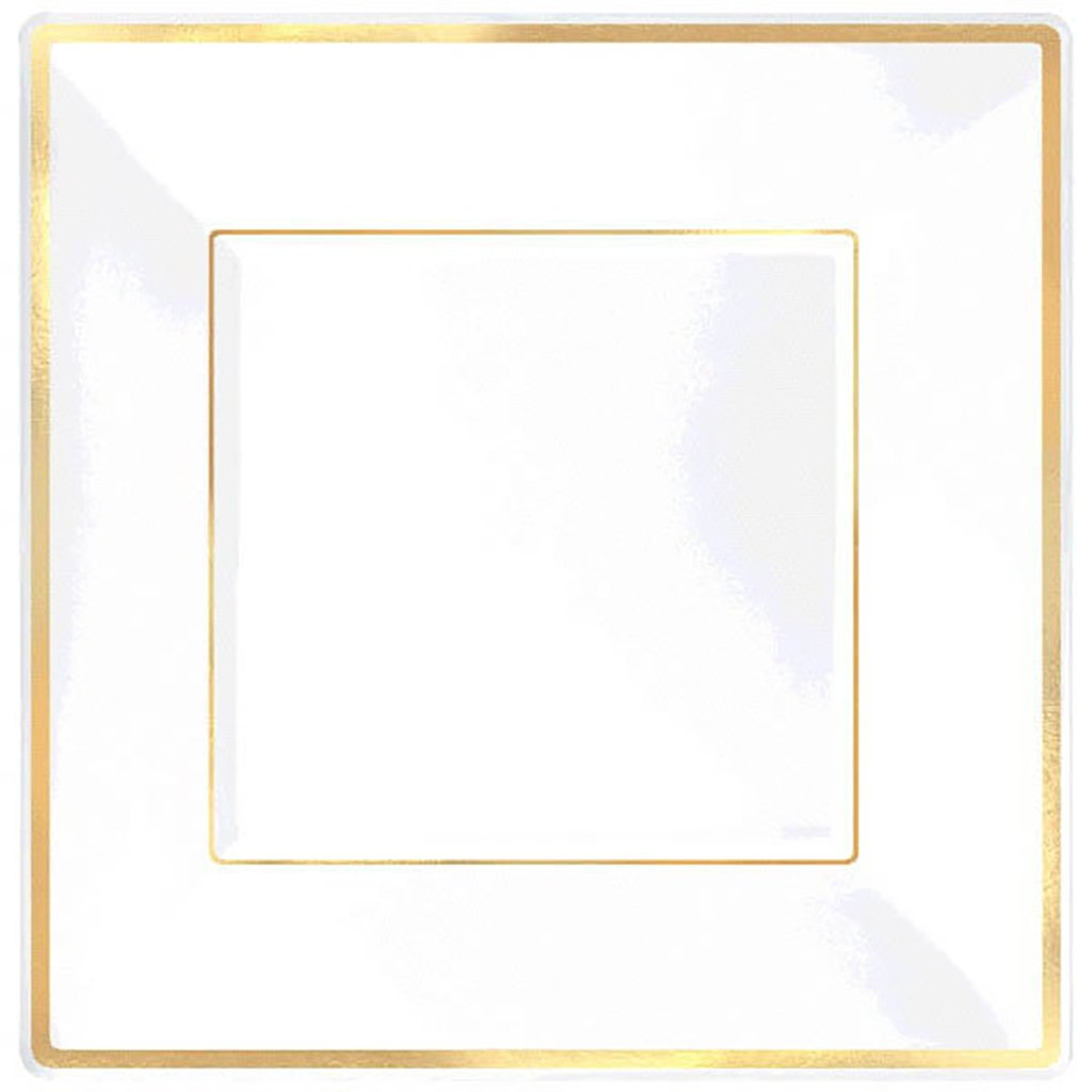 Amscan Elegant Square Plastic Plate Party Tableware and Reusable Dishware, White with Gold Trim, 10'', Pack of 8. Supplies (96 Piece)