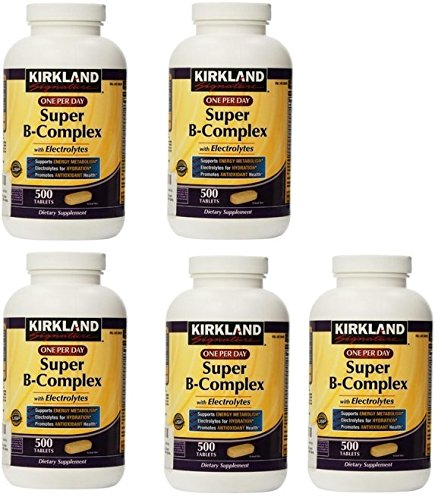 Kirkland Signature BJjDvf One Per Day Super B-Complex with Electrolytes, 500 Tablets (5 Pack)