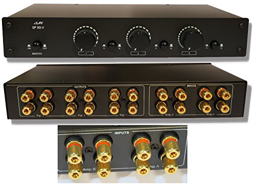2 Amp x 3 Pair Speaker Selector Switch Switcher Volume Control, Commercial Grade Brass Jacks ()