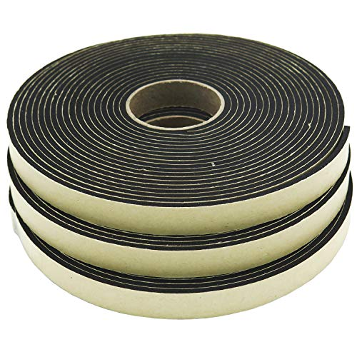 Neoprene Sponge Rubber Foam Tape (1/2in x 1/8in x 50ft) Self Adhesive Weather Stripping Insulation Roll