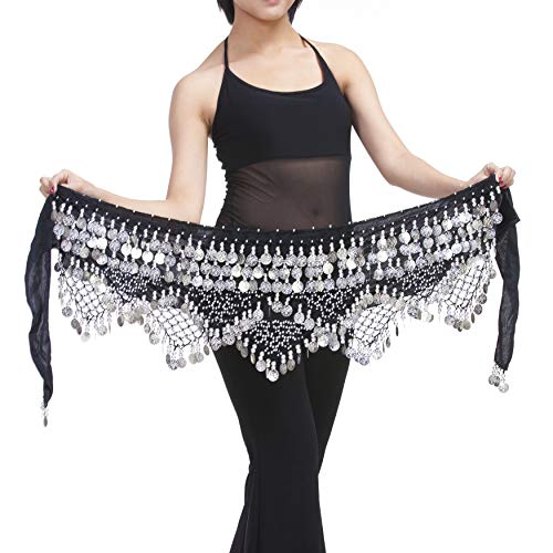 Saymequeen Belly Dancing Dance Waist Chain Hip Scarf Skirt Belt With 320 Coins (black & silver coins) ()