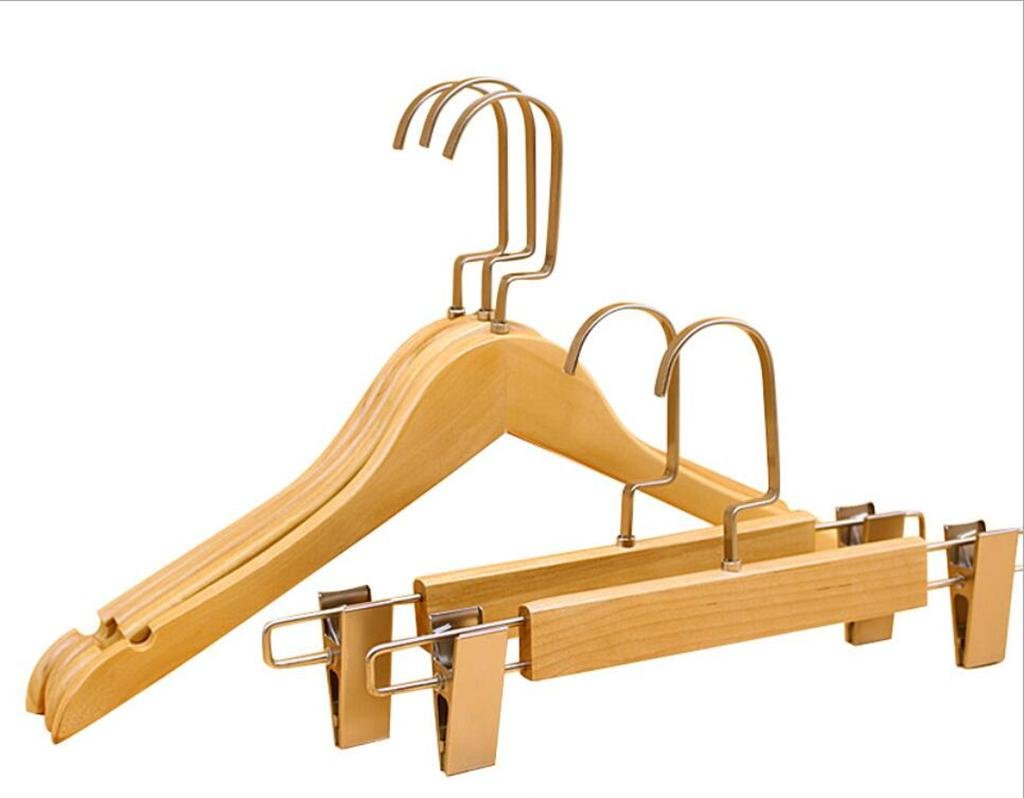 GFYWZ Solid wood hangers Flat hook Adult Clothing store Gold Non-slip Hanger Pants rack /pack of 20 , trousers rack