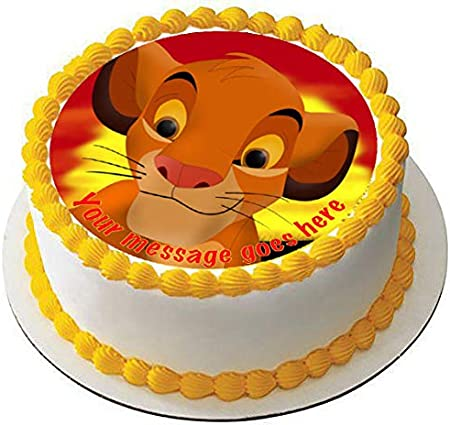 Magnificent Simba 19 Cm Round Fondant Icing Edible Cake Topper And Printed Funny Birthday Cards Online Bapapcheapnameinfo