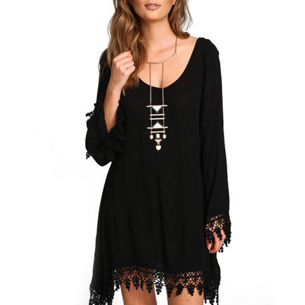 InIridescent Women Vintage Boho Tassel Hem Party Dress Long Sleeve Black Color