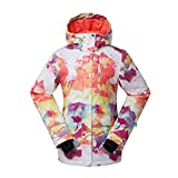 Women's High Breathable Waterproof and Windproof colorful Snowboard Printed Ski Jacket