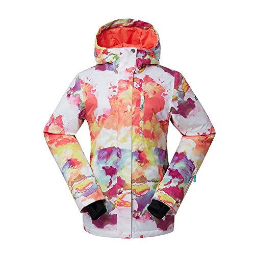 Women's High Breathable Waterproof and Windproof colorful Snowboard Printed Ski Jacket by RIUIYELE