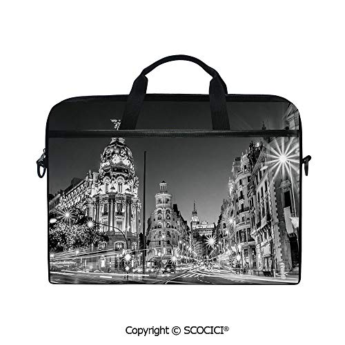 Portable Ultrabook Soft Sleeve Laptop Bag Case Cover Madrid City Night Spain Main Street Ancient Architecture Decorative Compatible with HP Dell Lenovo ()