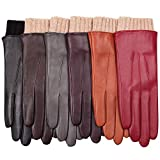 WARMEN Women's Winter Warm Hairsheep Leather Gloves Touchscreen Texting Cashmere/wool Blend Lining (7.5 (Large), Brown)