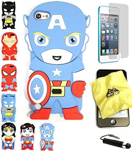 Bukit Cell 3D Superhero Bundle: Captain America Cute Justice League Cartoon Soft Silicone Case for Ipod Touch 6 6th Generation / 5 5th Generation + Cleaning Cloth + Screen Protector + Stylus Pen