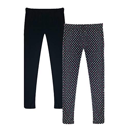 Black Polka Dot Leggings - Popular Girl's Solid and Print Active Leggings - 2 Pack - Polka Dot and Solid Black - 8/10