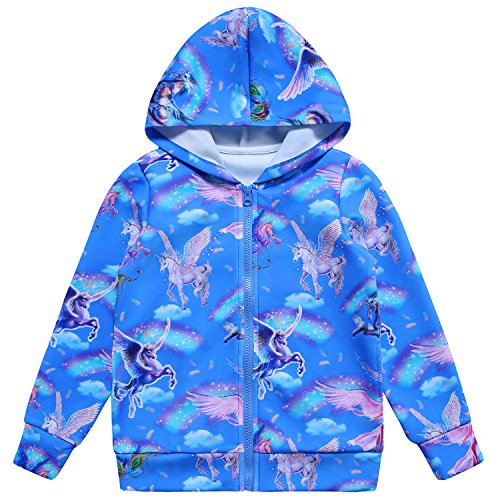 Jxstar Girls Hoodie Bomber Jacket Blue Sky Unicorn Print Long Sleeve Full Zip Pocket Coat Outwear Sky Unicorn 110 ()
