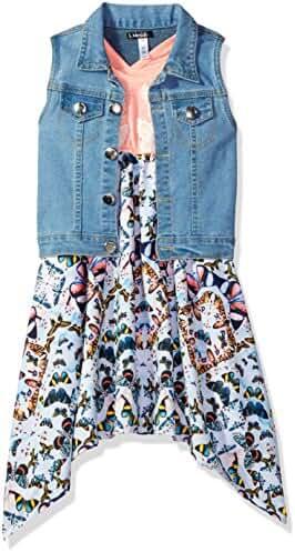 Kensie Girls' 2 Piece Denim Vest and Hankerchief Hem Dress
