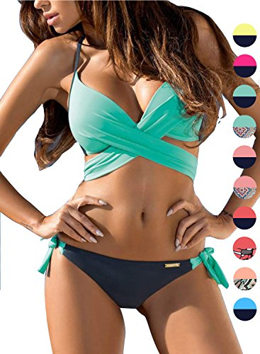 f4d666004dadf Amazon.com  ACHICGIRL Women s Fashion Bandage Side Tie Bikini Set  Clothing
