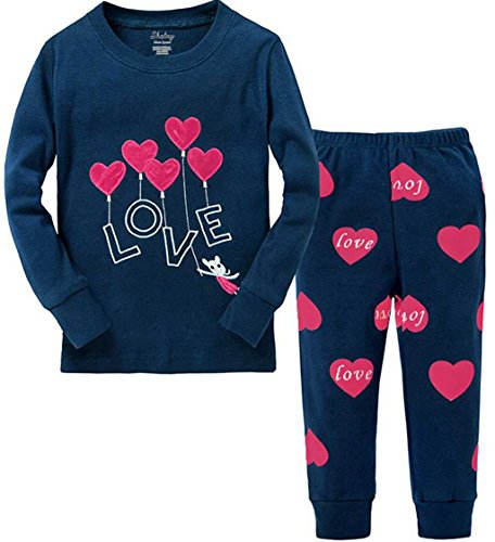 Little Girls Clothes Heart Cotton Sleep Pajamas Cartoon Sets Size 9