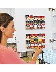 ducomi® Matberedare – platsbesparande kryddhylla med självhäftande dörrklämma, vägg eller hylla – mått: 25 x 2,5 x 4 cm – 4 medier för 20 kryddor