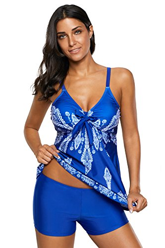 - Century Star Women's Tummy Control Swimwear Paisley Printed Tankini Swimsuit with Boyshorts Two Piece Bathing Suit Z Royal Blue Medium (fits like US 8-10)