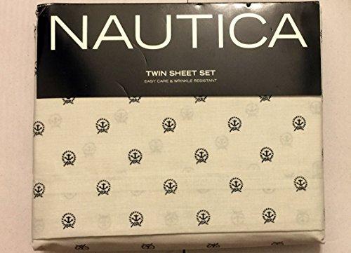 - Nautica Cotton Blend Wrinkle Resistant Sheet Set, Navy Blue Anchor Circle (Twin)