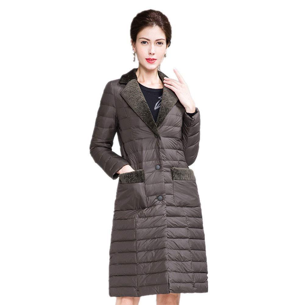 SIMPLE-H Damen Daunenjacke Winter Wild Temperament Wolle im Langen Absatz über der warmen Daunenjacke des Knies