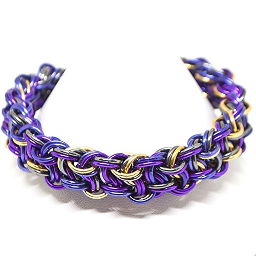 Mix Colour Metal (Merlin Color Mix (Fuchsia, Purple, Black and Goldtone) Chainmail (Chainmaille) Bracelet)