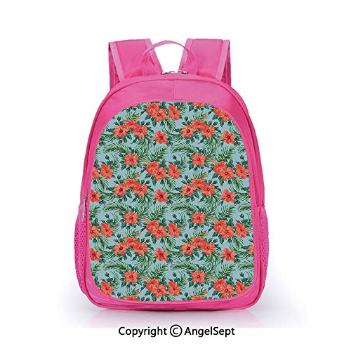 Custom Kid's Backpack Waterproof Cartoon Picture,Exotic Summer Bouquet Design with Hibiscus Flourish Aloha Botanical Decorative Pale Blue Dark Coral Green,15.7inch,School Bag For Unisex Kids