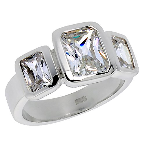 Sterling Silver Cubic Zirconia 3-Stone Ring Emerald Cut 1.2 ct Center Bezel Set, size 9 Cubic Zirconia Emerald Ladies Ring