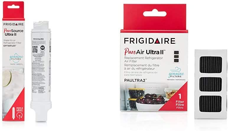 "Frigidaire EPTWFU01 Refrigerator Water Filter, 1 Count, White & PAULTRA2 Air Filter, 3.8"" x 1.8"", White"