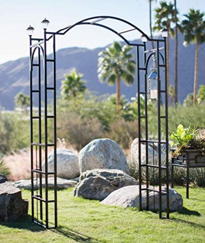 Outdoor Garden Arch 7.5-ft Tall W/ 4 Solar Lights Patio Decoration Black Steel Arbor Frame for Back Yard or Walkway (Arbor Patio)