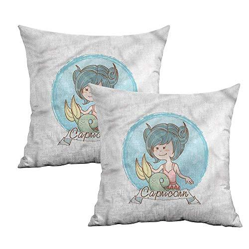 Khaki home Zodiac Capricorn Square Standard Pillowcase Pastel Mermaid Square Custom Pillowcase Cushion Cases Pillowcases for Sofa Bedroom Car W 20