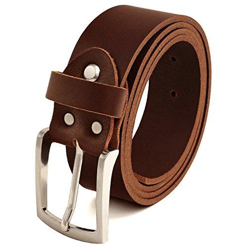 Fa.Volmer ® Gürtel Herren Ledergürtel aus Büffelleder für Männer Jeans Echtleder Braun 38mm breit kürzbar #Br007-02