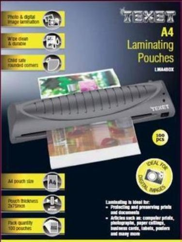 Texet A4 laminating pouches 150 microns pack of 100 LMA4BOX
