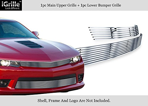 APS Compatible with 2014-2015 Chevy Camaro LS LT W RS Package Stainless Billet Grille Combo N19-C84216C ()