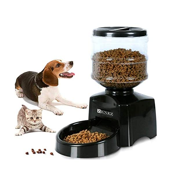 Zenez Automatic Pet Feeder Dispenser 5.5L Medium Capacity with Voice Message Recording and Large LCD Screen for Dogs Cats 1