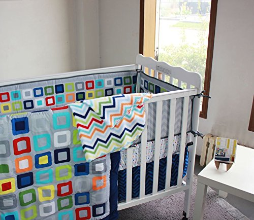 NAUGHTYBOSS Baby Bedding Set Cotton 3D Embroidery Colorful Tetris Quilt Bumper Mattress Cover Urine Bag Blankets 9 Pieces Multicolor by NAUGHTYBOSS (Image #4)