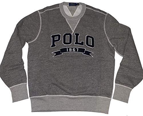 Polo Ralph Lauren Men's Cotton Blend Fleece Lined Pullover Crewneck Sweatshirt (Grey Heather, X-Large)