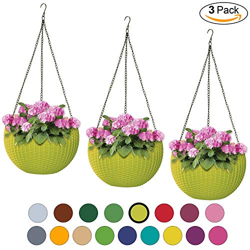 (ALMI Hanna Hanging Planter 11 Inch [3 Pack] Round Plastic Decor Garden Resin Flower Pot Chain Basket for Plant, Planters for Plants, for Indoor and Outdoor, Lime)