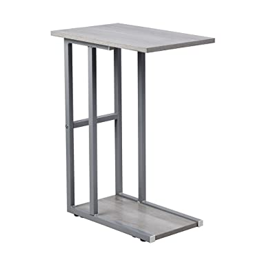 GIA B06XXDKCYG C Shape Side End Table, Oak Color/Gray