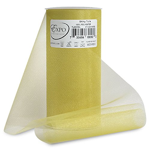 Expo Shiny Tulle Spool of 25-Yard, Gold