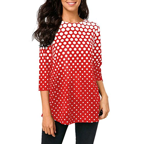 Flurries Women Dress, Fashion Womens O-Neck T-Shirt Tops Three Quarter Sleeve Polka Dot Print Blouse (2XL, Red) by Flurries