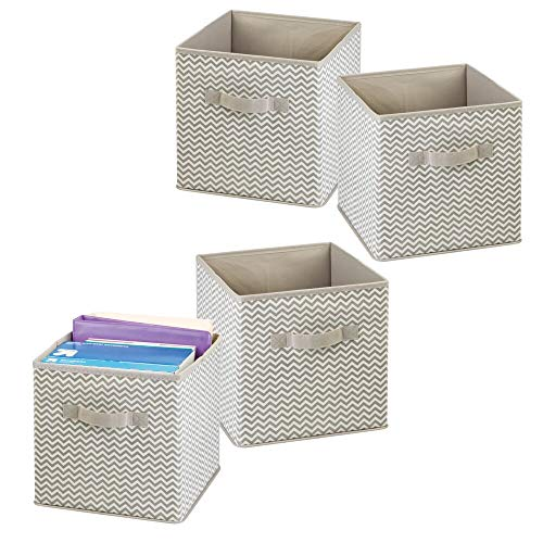 (mDesign Fabric Office Storage Organizer Cube for Note Pads, Label Boxes, Paper - Pack of 4, Taupe/Natural)