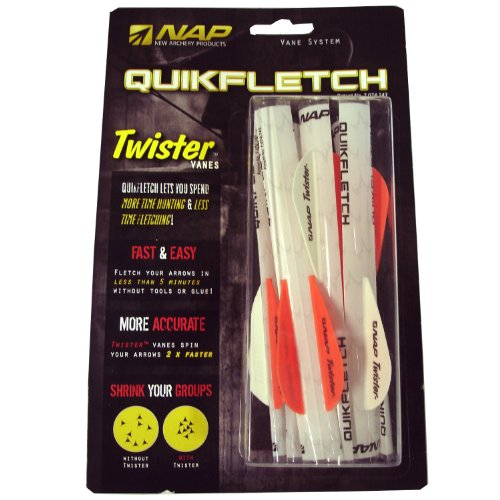 New Archery Products 6-Pack 2-Inch Quickfletch Twister Vanes (White/Orange)