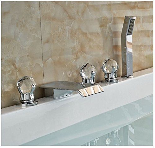 Gowe? Luxury Three Crystal Handles Deck Mounted Chrome Finish Shower Faucet With Hand Shower